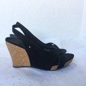 Ugg Hazel Black Suede Cork Wedge Sandal Sling - 8